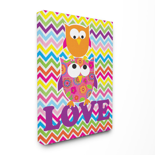 Stupell Industries The Kids Room Rainbow Chevron Love Owls Canvas Wall Art