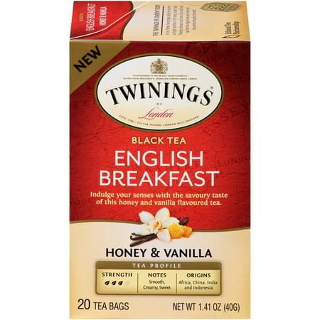 Twinings of London English Breakfast Honey & Vanilla Black Tea Bags, 20 Count, Pack of 6