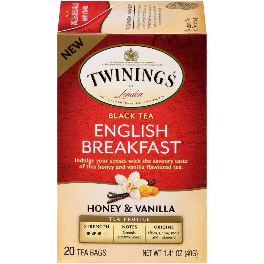 Twinings of London English Breakfast Honey & Vanilla Black Tea Bags, 20 Count, Pack of 6