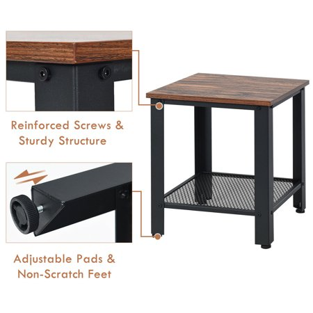 Gymax Industrial End Table 2-Tier Side Table W/Storage Shelf Rustic Sofa Table Black - image 3 of 9