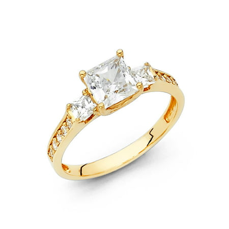 Jewels By Lux 14K Yellow Gold Princess Cut Square Shaped Cubic Zirconia CZ Engagement Ring w/Princess Cut Side Stones Size 5.5