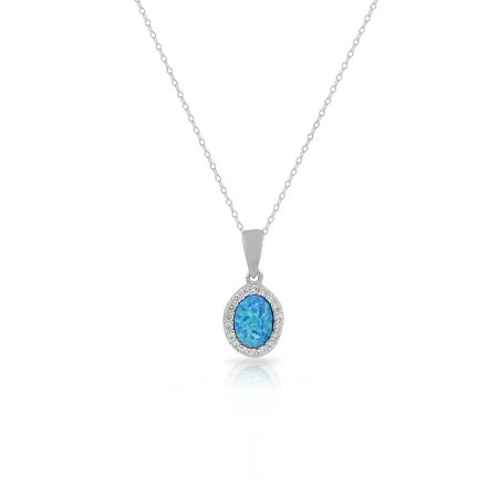 925 Sterling Silver Blue Turquoise-Tone Simulated Opal White CZ Oval Pendant Necklace