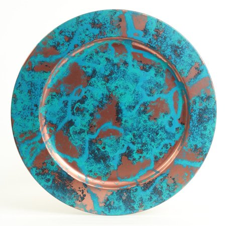 Koyal Wholesale Copper Patina Metal Charger Plates, Set of 4, Real Copper Verdigris Finish Antique (Chopper Plate)