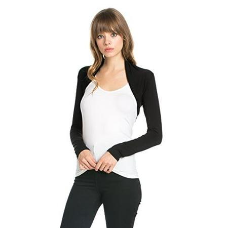 Fashion Secrets Women's Long Sleeve Rayon Cotton Bolero Shrug Cropped Cardigan Small Jacket (Large, Black)