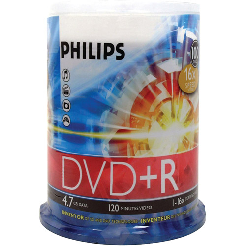 Philips DR4S6B00F/17 4.7GB 16x DVD Rs, 100-ct Cake Box Spindle