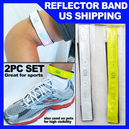- 2 PC Reflective Arm Leg Bands 4 Led Lights Strap Bike Running Run Safety Cycling
