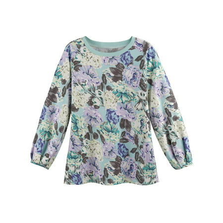 Women's Floral Print on Mint Green Tunic Sweatshirt - Long Sleeves, 100% (Ladies Mint Green)