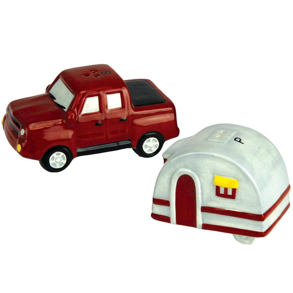 Pickup Truck And Camper Trailer Road Trip Ceramic Salt And Pepper Shaker Set