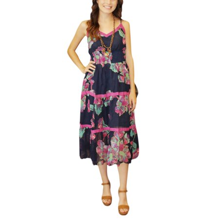Fit Liners - Mogul Dark Blue Pink Floral Midi Dress Beautiful Sleeveless Lace Work Fit AND Flare Shirred Waist Liner Slip Long Dresses M