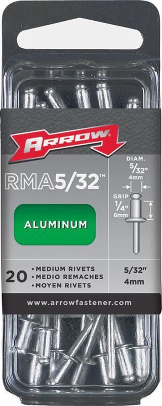 "Arrow Fastener RMA5 32 5 32"" Medium Aluminum Rivets, 20 Count by Arrow Fastener"
