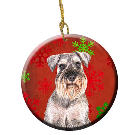 Red Snowflakes Holiday Christmas Schnauzer Ceramic Ornament ()