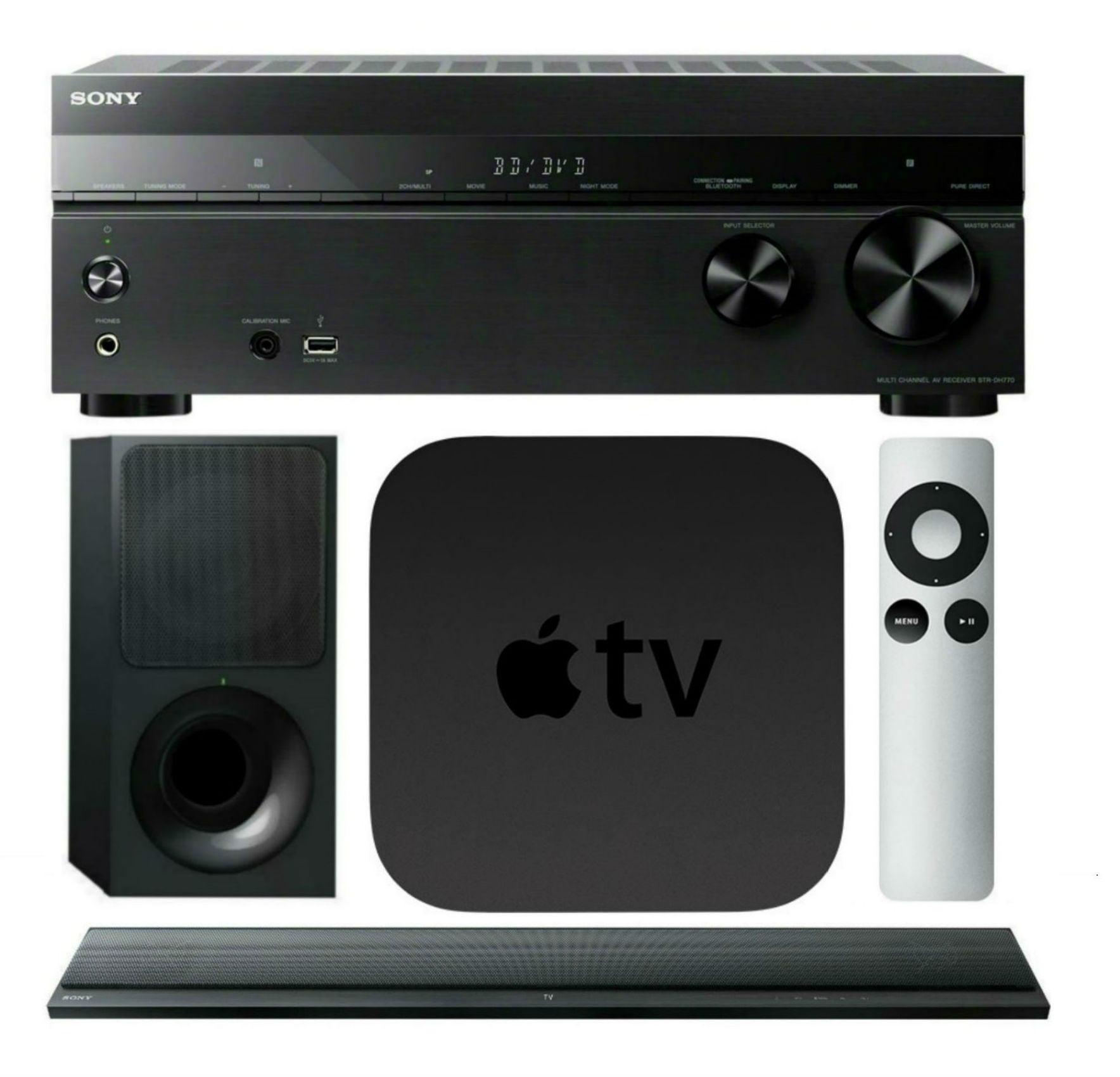Sony STRDH770 Home Theater AVReceiver, HTCT390 SoundBar w/ Apple TV 3rd Gen