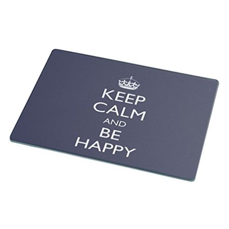 Rikki Knight   Keep Calm Be Happy Glass Cutting Board  Large  Blue