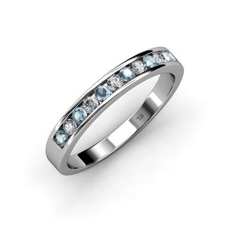 Blue and White Diamond 2mm Channel Set Eternity Band 0.81 to 0.96 Carat tw in 14K Yellow Gold.size 6.0