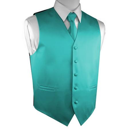 Valentine Handkerchief - Italian Design, Men's Tuxedo Vest, Tie & Hankie Set - Teal