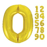 Foil Big Number Balloon, 0, 34 in, Gold, 1ct