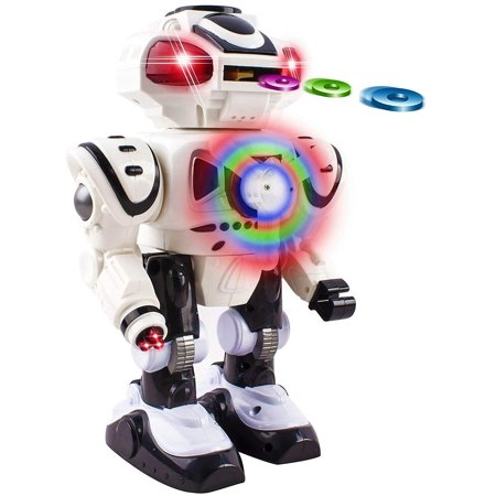 Super Android Toy Robot With Disc Shooting Walking Flashing Lights And Sound Features Great Action Toy For Kids Boys Girls Toddlers Battery Operated White