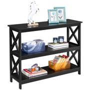 Yaheetech 3 Tier X-Design Console Wooden Table Sofa Side Table w/Storage Shelves for Entryway Living Room, Black