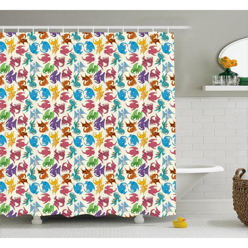 Zoomie Kids Margo Children Pattern Colored Shower Curtain