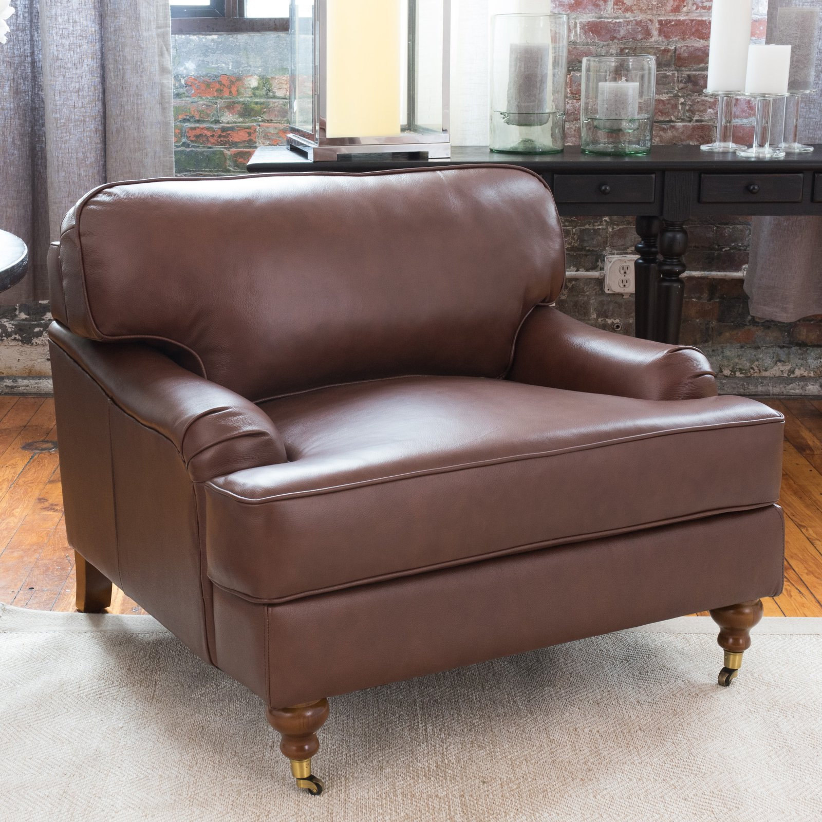 Click here to buy Elements Fine Home Furnishings Athens Leather Club Chair by Kuka Home Kirkland, Inc..