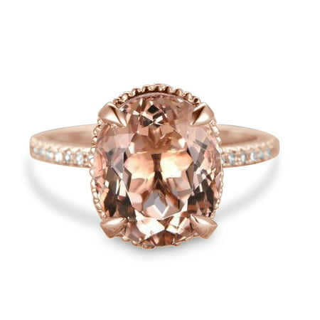 Antique 1.50 Carat Oval Cut Morganite and Diamond Engagement Ring in Rose Gold ()