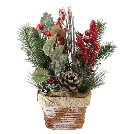 Northlight Red Berries Frosted Pine Needles Christmas Arrangement Centerpiece