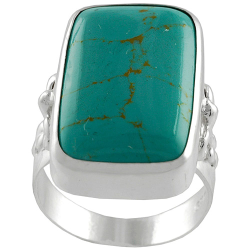 Brinley Co. Block Turquoise Fashion Ring in Sterling Silver