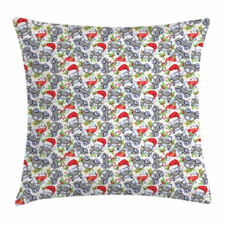 Cars Throw Pillow Cushion Cover, Christmas Themed Hand Drawn Cars with Santa Hats and Presents on Winter Holiday, Decorative Square Accent Pillow Case, 16 X 16 Inches, Lime Green Grey, by Ambesonne - Cat With Christmas Hat