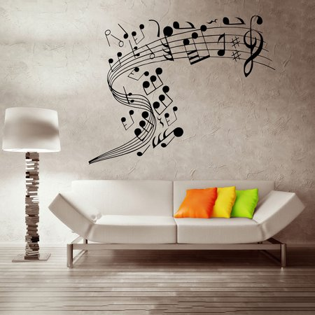 Note Wall (Mrosaa Music Notes Band Room Home Removable Wall Stickers Decals Vinyl DIY Wall Art)