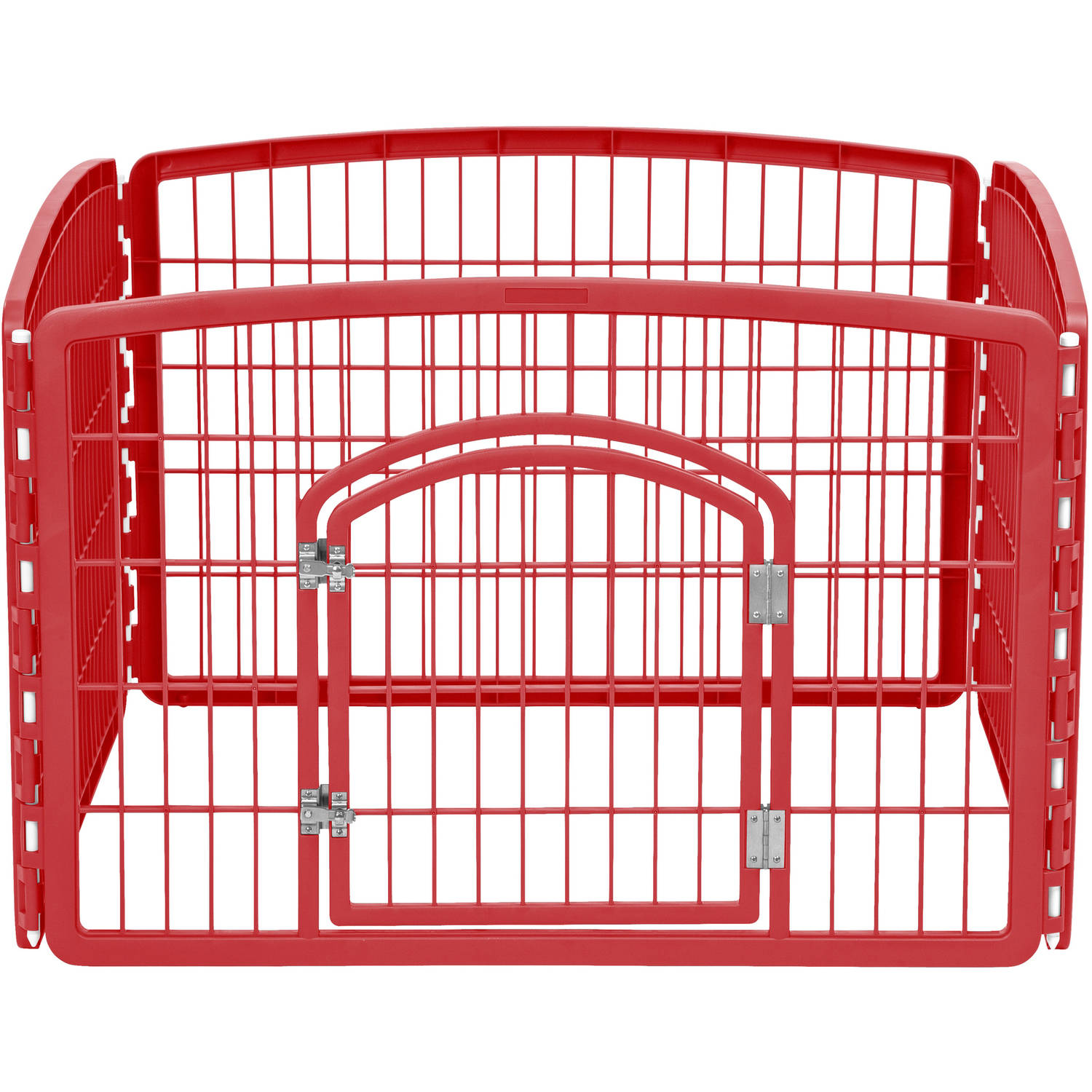 IRIS 4-Panel Pet Pen with Door, Red