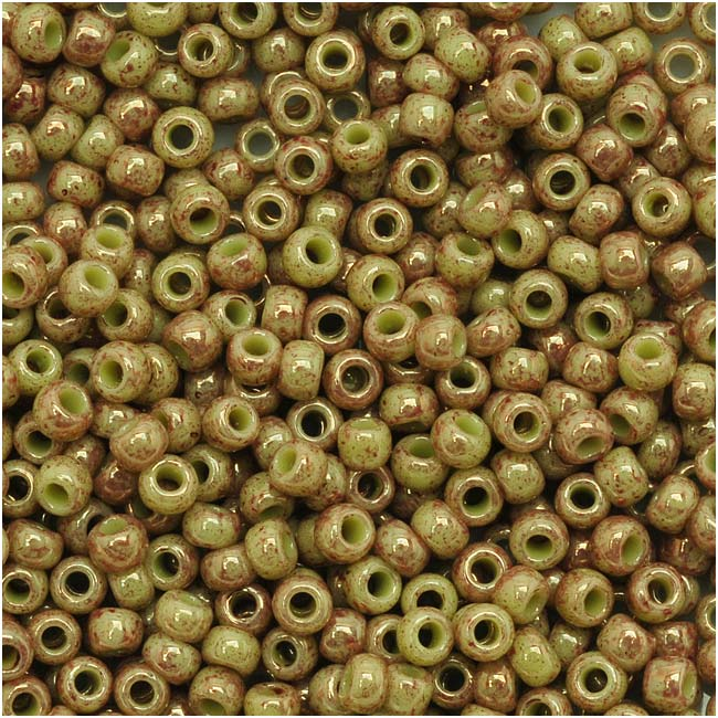 Toho Round Seed Beads 11/0 #1209 'Marbled Opaque Avocado/Pink' 8 Gram Tube
