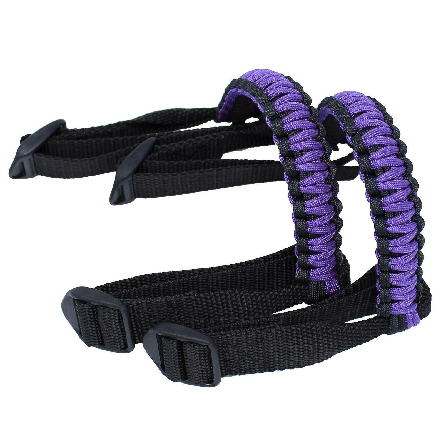 Purple Stripes Soft Quilted Zippered Pouch Plus Paracord Strap
