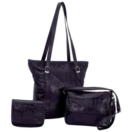 Embassy™ Solid Genuine Leather 3pc Purse Set with Crocodile Embossing