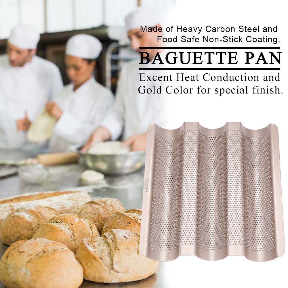 10inch French Bread Pan Baguette Baking Tray Perforated 3-slot Non Stick Bake, Non Stick Pan,Bread Pan by