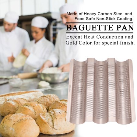 Non Stick Perforated Baguette Pan (10inch French Bread Pan Baguette Baking Tray Perforated 3-slot Non Stick Bake,Bread Pan, Non Stick)
