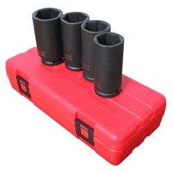 SPINDLE NUT SOCKET SET 4 PC 1/2IN DR 6 POINT ()