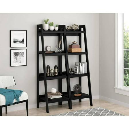 Ameriwood Home Lawrence 4 Shelf Ladder Bookcase Bundle, Black (Set of 2) - Ameriwood Home Lawrence 4 Shelf Ladder Bookcase Bundle, Black (Set