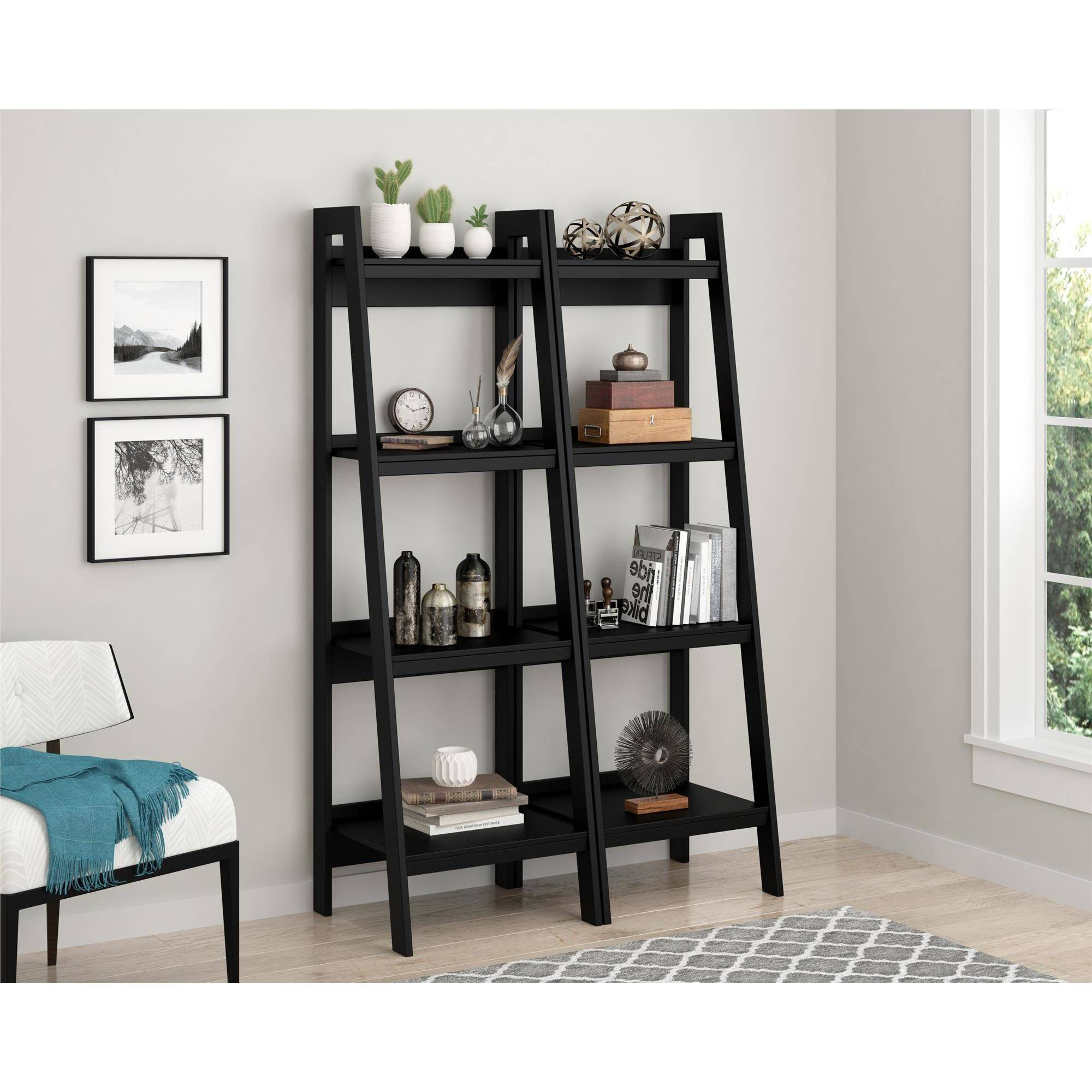 Ameriwood Home Lawrence 4 Shelf Ladder Bookcase Bundle, Black (Set of 2)