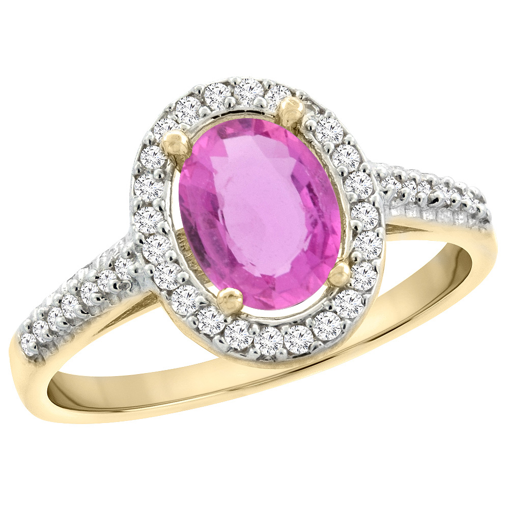 14K Yellow Gold Natural Pink Sapphire Engagement Ring Oval 7x5 mm ...