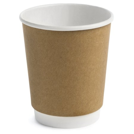 Earth's Natural Alternative ECCUP8 Double Wall Kraft Paper Coffee Cup 8 oz, Tan, 50 Count - Paper Coffee Cup