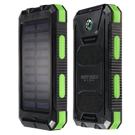 10000Mah Solar Charger Dual Usb Power Bank Phone Flashlight Compass Black Green