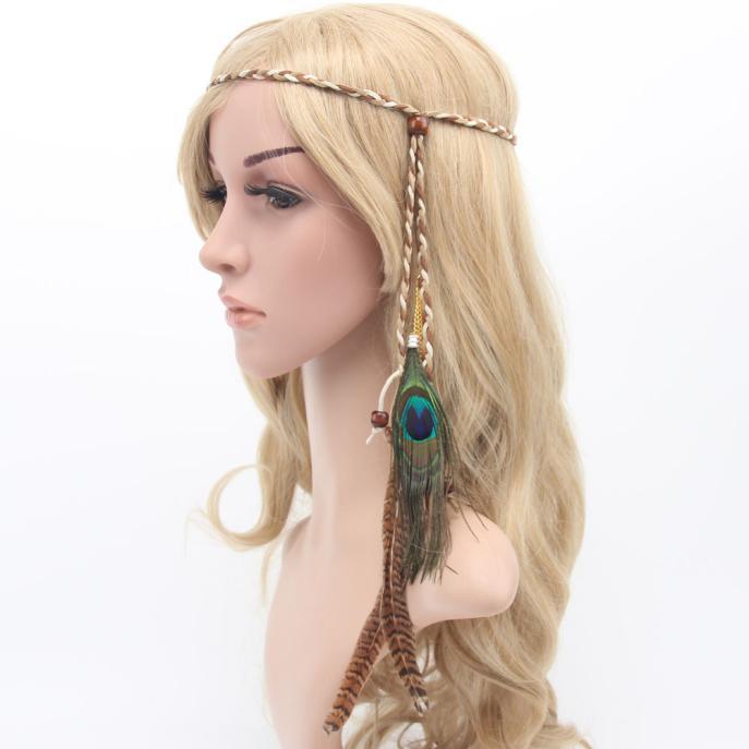 Outtop Bohemia Peacock Feather Headdress Headband Braid Hair Hoop Headband Lead Rope