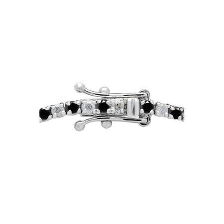 "3ct Black & White Diamond Tennis Bracelet 14K White Gold 7"" Double Lock Clasp - image 1 de 2"