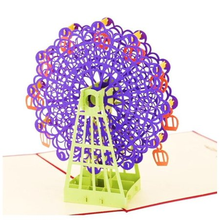 3D Ferris Wheel Pop Up Card and Envelope - Funny Unique Pop Up Greeting Card for Birthday, Mother's Day, New Year, Anniversary, Valentine, Wedding, Graduation, Thank You. Purple Ferris (Funny Valentines Day Cards For Your Mom)