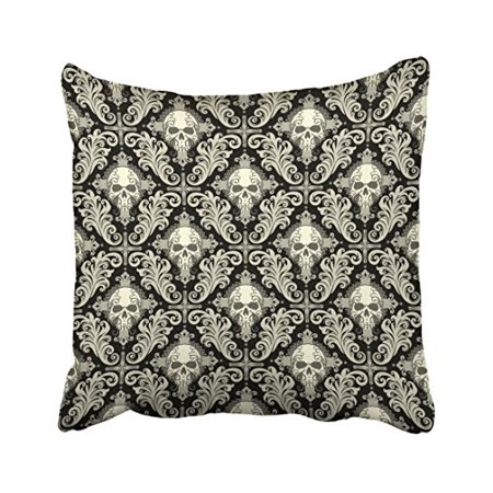 - WinHome Decorative Pillowcases Halloween Skulls Crosses Black And Cream Damask Pattern Outdoor Throw Pillow Covers Cases Cushion Cover Case Sofa 18x18 Inches Two Side