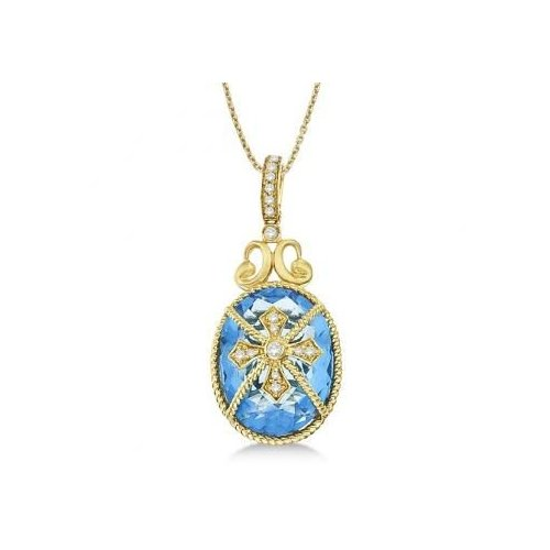 Seven Seas Jewelers Blue Topaz & Diamond Byzantine Pendant Necklace 14k Yellow Gold (9.36ct) by Brand New