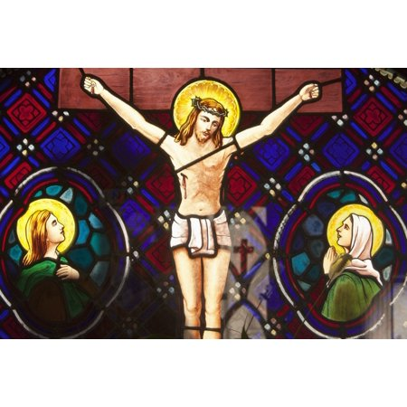 Stuart Stained Glass Print (Buenos Aires Argentina A Stained Glass Window Depicting Jesuss Death In Recoleta Cemetery Poster Print by Stuart Westmorland  Design Pics)