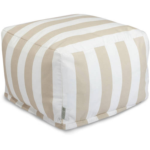 Majestic Home Goods Vertical Stripe Ottoman, Indoor/Outdoor
