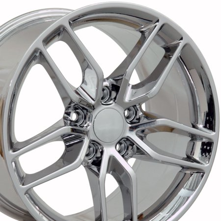 18x10.5 Wheels Fit Corvette, Camaro - C7 Stingray Style Chrome Rims, Hollander - Corvette Stingray Emblem