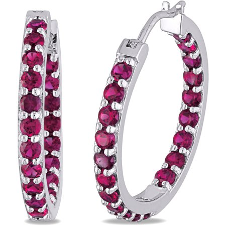 3-1/5 Carat T.G.W. Created Ruby Sterling Silver Hoop - Hoop Ruby Earrings